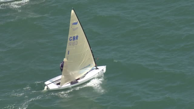 aerial shots of sailing dinghies at sea taking part in a race on 25 may 2020 in southend on sea, united kingdom - sailing stock videos & royalty-free footage
