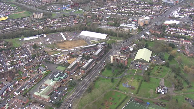 aerial shots of salt hill activity centre in slough, being used as a mass coronavirus vaccination centre on 18 january 2021 in slough, united kingdom - berkshire england stock videos & royalty-free footage