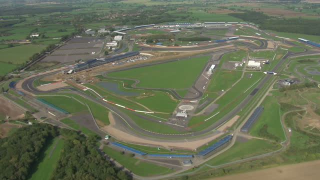 Aerial shots of Silverstone Grand Prix Racing circuit on October 11 2010 in Northamptonshire England