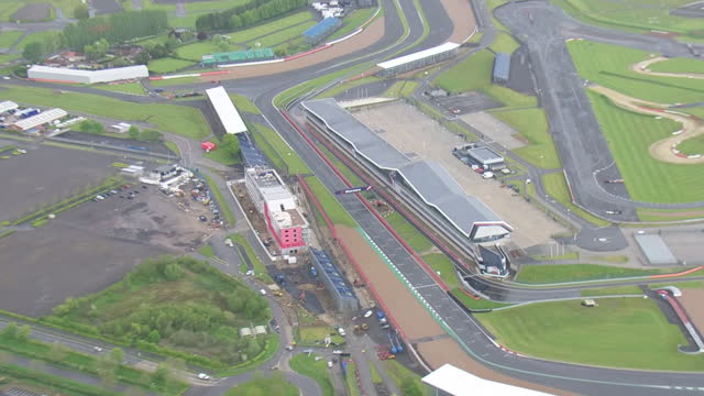 aerial shots of silverstone race circuit and grandstands on 24 may 2021 in silverstone, united kingdom - formula one racing stock videos & royalty-free footage