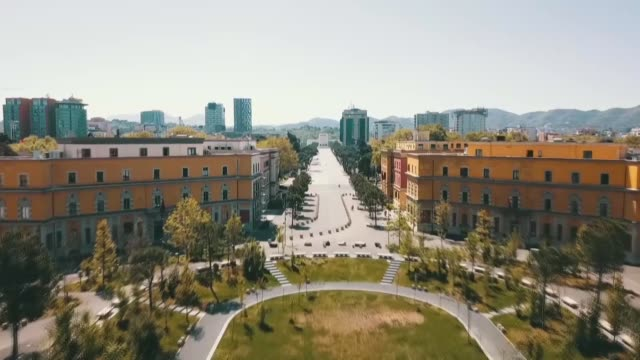 aerial shots of skanderbeg square and empty streets with afew vehicles in tirana albania on april 19 2020 a the deadly coronavirus has wreaked havoc... - tirana stock videos & royalty-free footage