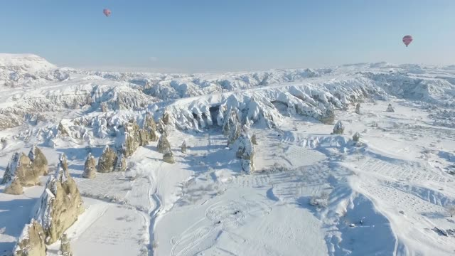 Aerial shots of snow covered volcanic rock formations at Goreme Open Air Museum in Cappadocia a historical region in central Anatolia in Nevsehir...