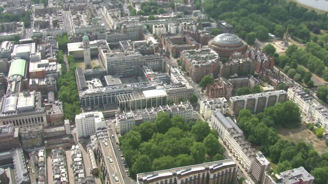 aerial shots of south kensington with views of imperial college london campus buildings at the royal albert hall>> on june 18 2015 in london england - royal albert hall bildbanksvideor och videomaterial från bakom kulisserna