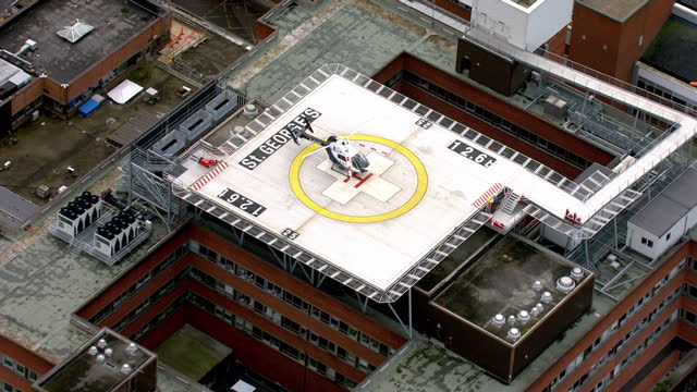 aerial shots of st georges hospital and helipad on february 10 2016 in london england - hubschrauber landeplatz stock-videos und b-roll-filmmaterial