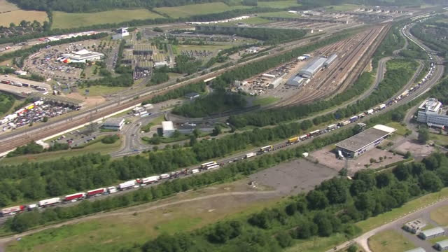 Aerial shots of standstill traffic along the A2 / M2 motorway junction on July 23 2016 in Kent England