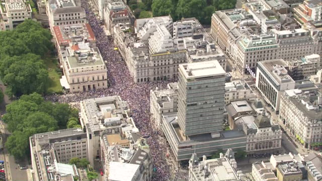 aerial shots of the brexit 'people's rally' held in central london - british labour party stock videos & royalty-free footage