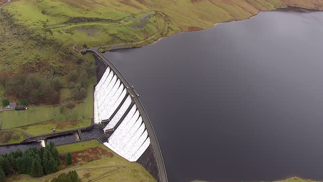 aerial shots of the clarrwen reservoir and the claerwen dam on january 5, 2014 in powys, wales. - water conservation stock videos & royalty-free footage