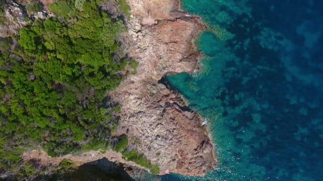 aerial shots of the corsican coastline - mediterranean culture stock videos & royalty-free footage