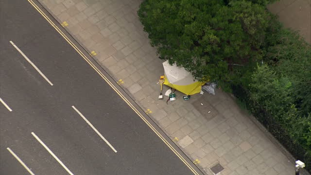 Aerial shots of the crime scene cordon of where the Russell Square stabbings happened on August 4 2016 in London England