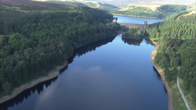 Aerial shots of the Derwent Dam and Howden Reservoir in the Peak District National Park on September 9 2009 in Derbyshire England