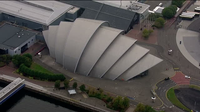 Aerial shots of the Glasgow Auditorium also known as 'The Armadillo' on July 31 2014 in Glasgow Scotland