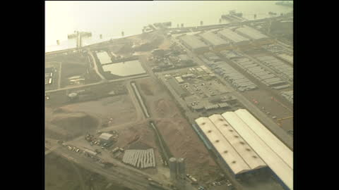 aerial shots of the harbours near the channel tunnel construction site on february 10, 1989 in dover, england. - eurotunnel folkestone stock-videos und b-roll-filmmaterial