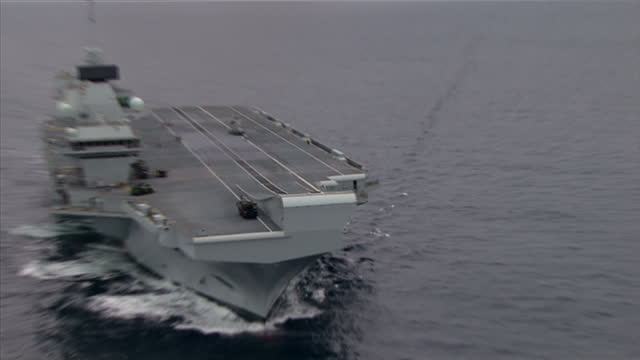 Aerial shots of the HMS Queen Elizabeth aircraft carrier at sea during sea trials off the coast of Scotland on July 24 2017 At Sea United Kingdom