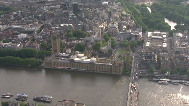 Aerial shots of the Houses of Parliament on July 13 2016 in London England