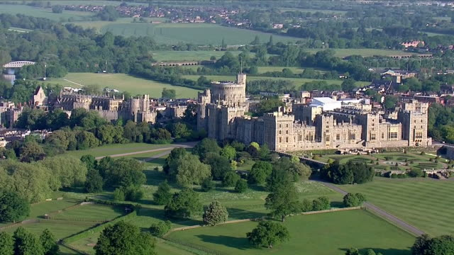aerial shots of the long walk and windsor castle on 18th may 2018 in windsor england united kingdom - windsor castle stock videos & royalty-free footage