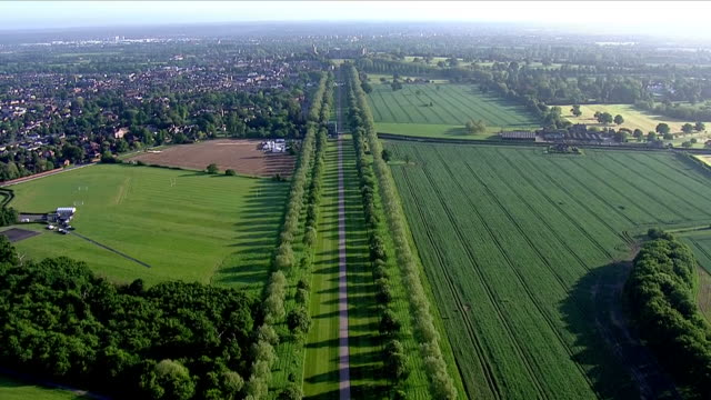 aerial shots of the long walk leading up to windsor castle on 18th may 2018 in windsor england united kingdom - windsor castle stock videos & royalty-free footage