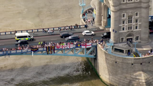 aerial shots of the ocean revival rowers travelling up with river thames towards tower brigge, they have become the first crew to row across the... - north atlantic ocean stock videos & royalty-free footage