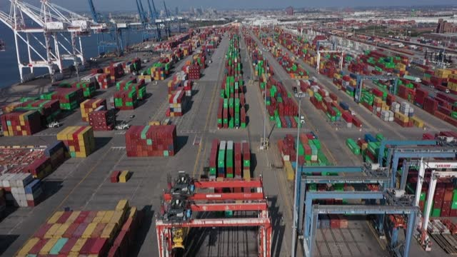 aerial shots of the port of baltimore on the east coast of the us, as the busiest port on the west coast -- the port of los angeles -- is congested... - port of los angeles stock videos & royalty-free footage