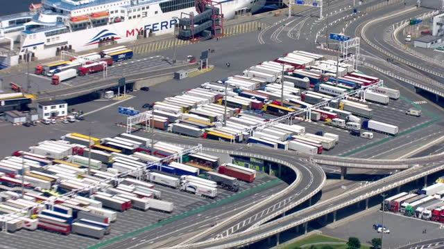aerial shots of the port of calais including shots of myferrylink ferries docked in port during a blockade by striking workers>> on june 23 2015 in... - calais stock videos and b-roll footage