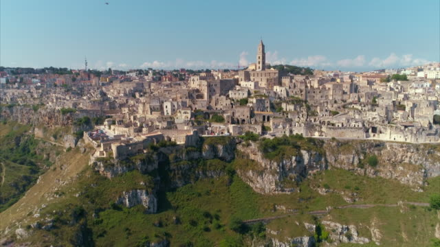 Aerial shots of the Sassi district of Matera in southern Italy