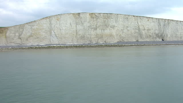 Aerial shots of The Seven Sisters white chalky cliffs the coastline signs of coastal erosion at the South Downs on April 11 2014 in Sussex
