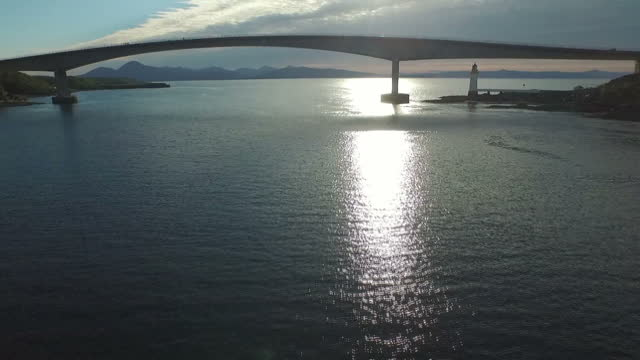 aerial shots of the skye bridge over loch alsh with traffic crossing between the isle of skye and eilean ban>> on june 12 2015 in kyle of lochalsh... - skye stock videos and b-roll footage