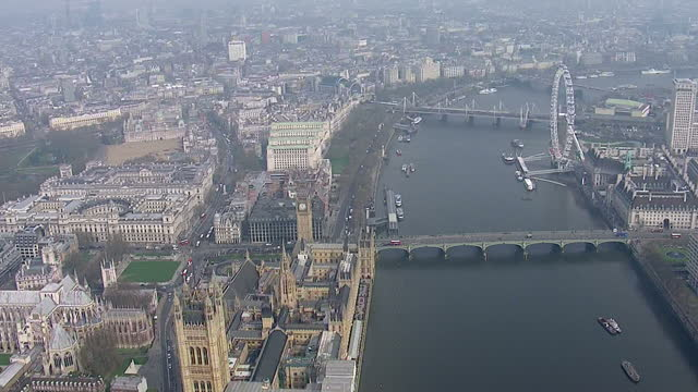 aerial shots of thick smog covering iconic landmarks in london including the london eye houses of parliament pollution swept over parts of southern... - sahara desert stock videos & royalty-free footage