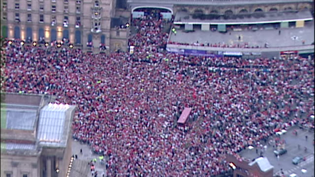 Aerial shots of thousands of Liverpool Football Club fans supporters sea of red gathered in Liverpool City centre to celebrate Liverpool FC victory...