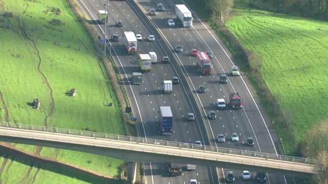 Aerial shots of traffic driving along the M25 motorway near Junction 7 for the M23>> on October 27 2017 in London England