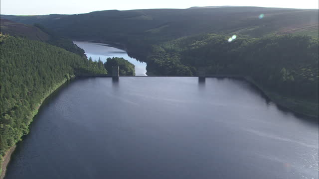 Aerial shots of Upper Derwent Reservoir and the Derwent dam in the Peak District national park on September 9 2009 in Derbyshire England