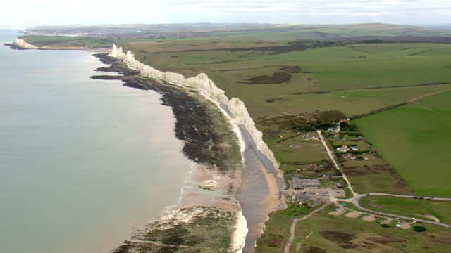 aerial shots of white chalk cliffs along the south coast with signs of coastal erosion on 5 march 2021 in brighton, united kingdom - coastal feature stock videos & royalty-free footage