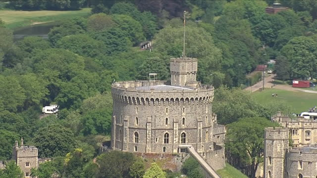 aerial shots of windsor castle including aerial shots of crowds walking along the long walk on 18th may 2018 in windsor england united kingdom - windsor castle stock videos & royalty-free footage