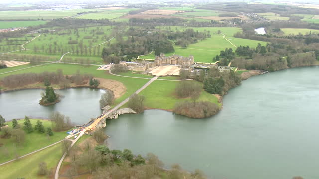 GBR: Aerial footage of Leicester, Oxfordshire villages and Blenheim Palace
