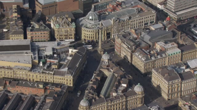 aerial shots over newcastle city centre including grey's monument and park as new coronavirus lockdown measure come into force on 17 september 2020... - newcastle upon tyne stock videos & royalty-free footage