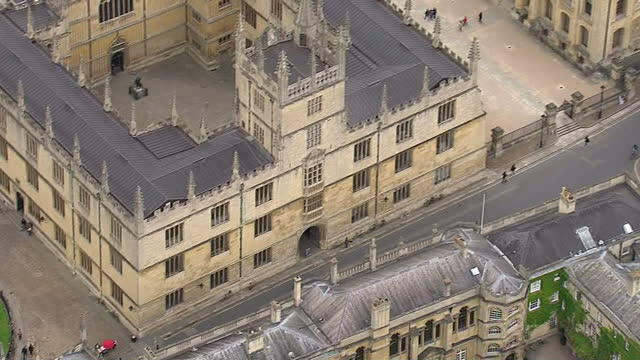 aerial shots oxford city with radcliffe camera bodleian library buildings on may 25 2015 in oxford england - radcliffe camera stock videos and b-roll footage