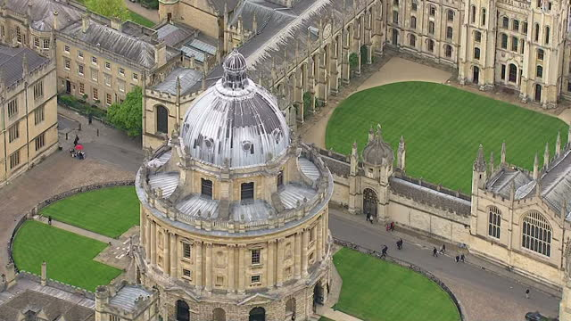 aerial shots oxford city with radcliffe camera on may 25 2015 in oxford england - radcliffe camera stock videos and b-roll footage