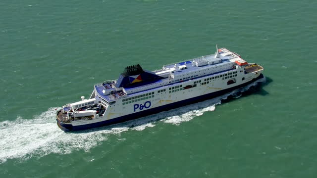 aerial shots po ferries in english channel on august 05 2016 in dover england - english channel stock videos & royalty-free footage
