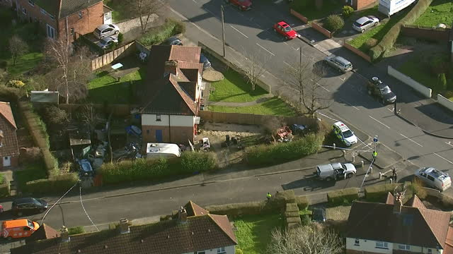 aerial shots police cordoned off area near wilton close address in bristol in search for missing girl becky watts on march 02 2015 in bristol england - missing persons stock videos & royalty-free footage