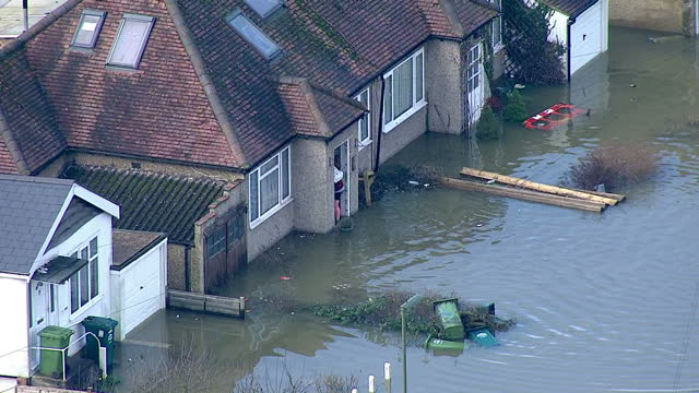 Aerial shots residential houses in Walton on Thames submerged in flood water on in London United Kingdom