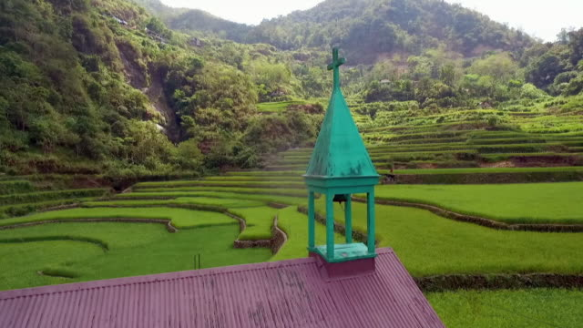 aerial shots small village amid rice terraces, philippines - philippines stock videos & royalty-free footage