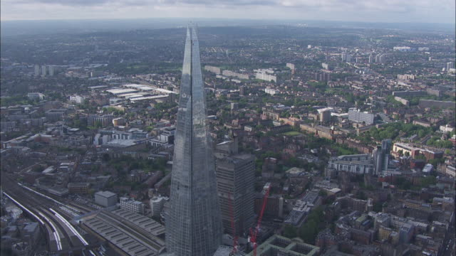 Aerial shots - zooming in on The Shard in London