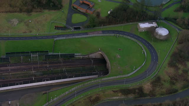 Aerial shows Euro Star trains and tracks and tunnel entrance exit on January 08 2015 in Dover England