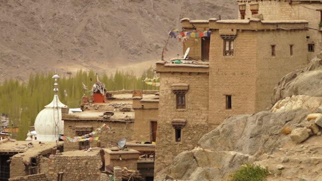 vídeos de stock e filmes b-roll de aerial side view of leh palace, ladakh - pine