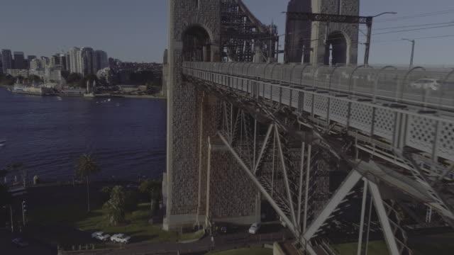 Aerial side view of Sydney Harbour Bridge. Sydney Australia