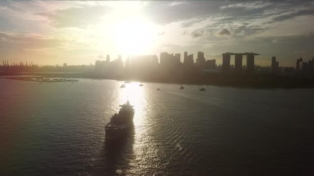 空中シルエット都市シンガポール - 造船所点の映像素材/bロール