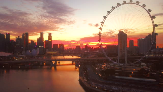aerial singapore city at dusk - singapore stock videos & royalty-free footage