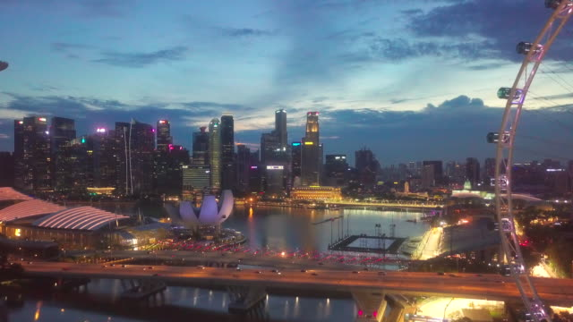 aerial singapore city at dusk - singapore river stock videos & royalty-free footage