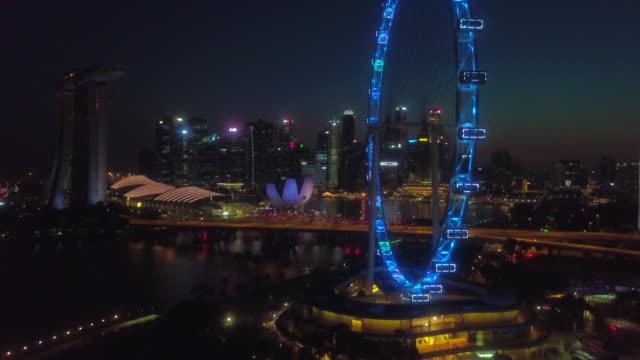 aerial singapore silhouette - big wheel stock videos & royalty-free footage