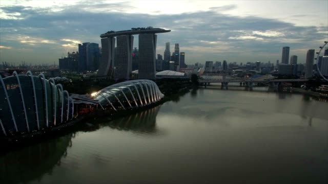 aerial singapore skyline - singapore stock videos & royalty-free footage