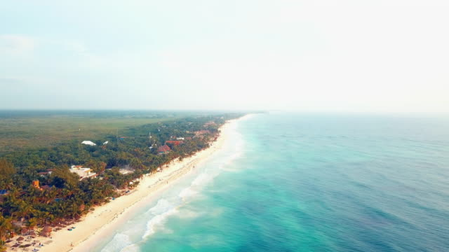 Aerial: Sites of the Windy Blue Beach of Tulum